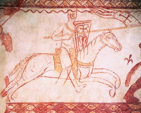 Mounted Templar detailed fresco