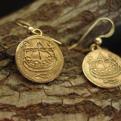 Viking Longship coin earrings on branch