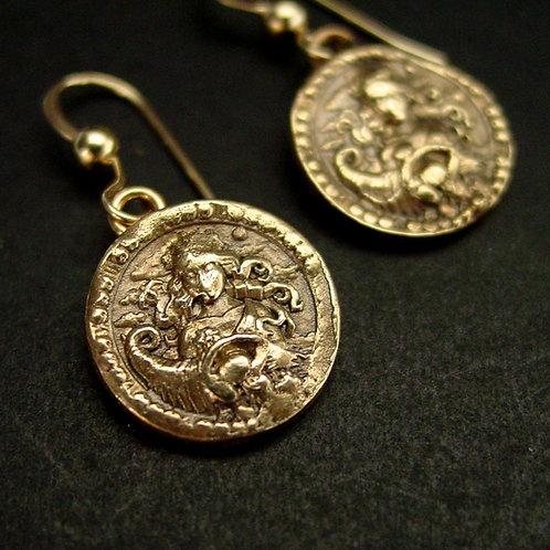 Virgo earrings antiqued close up