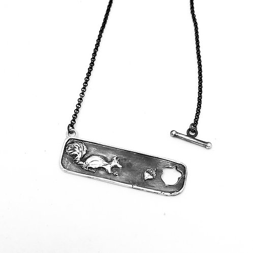 Silver squirrel bar necklace