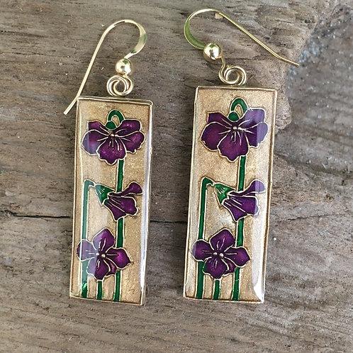 Sweet Violet earrings outside