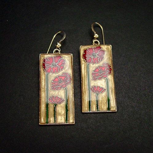 Oriental poppy earrings
