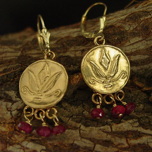 Lotus earrings with rubies on branch