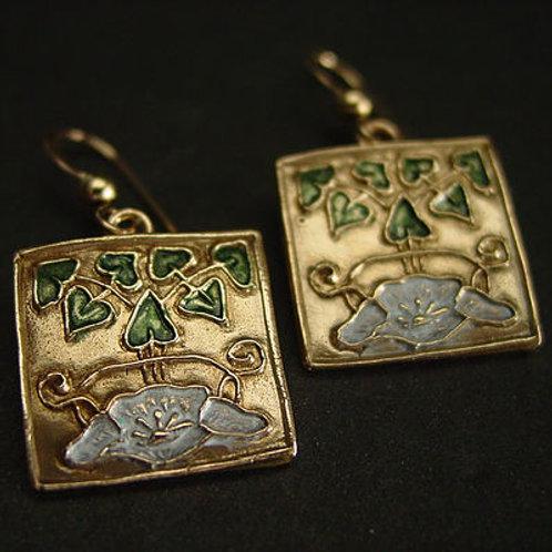 Water lily art deco earrings