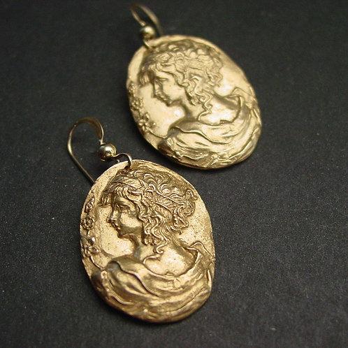 Aphrodite cameo earrings