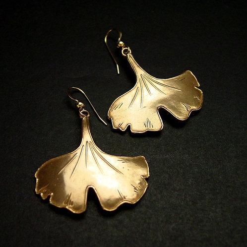 Ginkgo leaf earrings large
