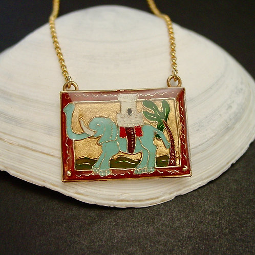 Bestiary elephant necklace on shell