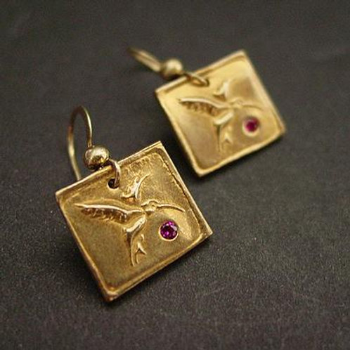 Hummingbird Square earrings with ruby