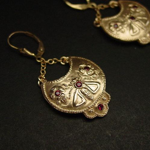 Byzantine bee and flowers earrings
