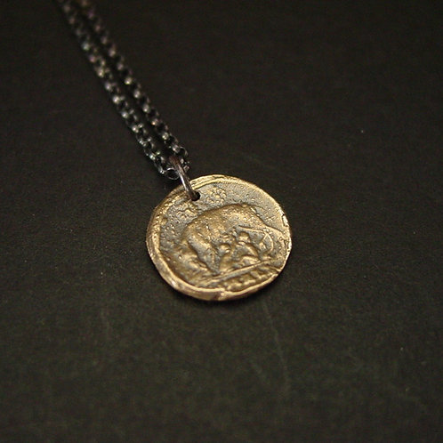 Tiny gold bronze Roman coin necklace with black chain