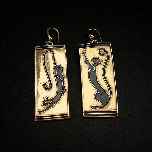 Black cat earrings both