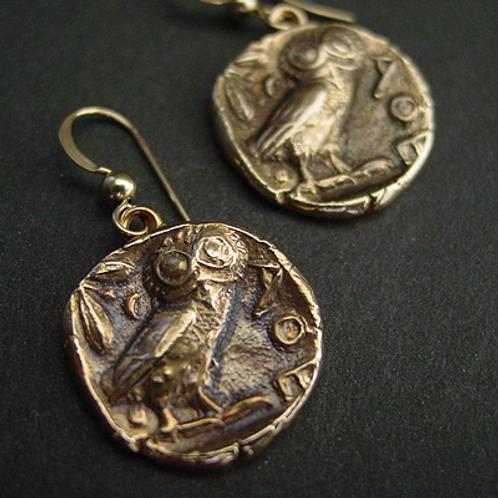 Owl coin earrings