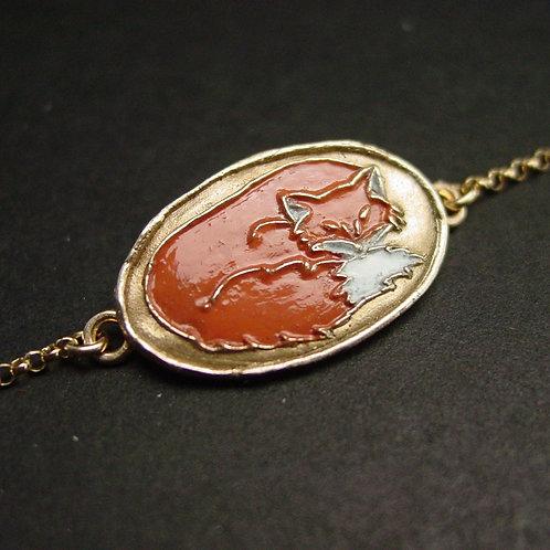 Fox enamel bracelet
