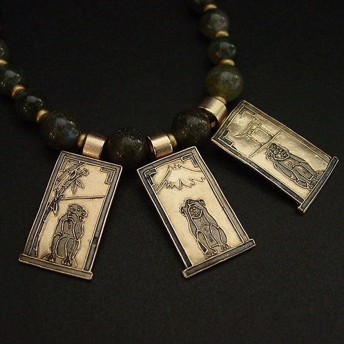 Three Wise Monkeys labradorite necklace