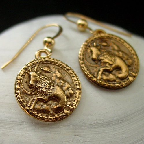 Capricorn earrings Antiqued on shell