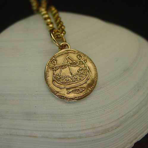 Viking Longship coin necklace