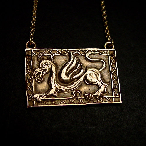 Welsh dragon necklace close up