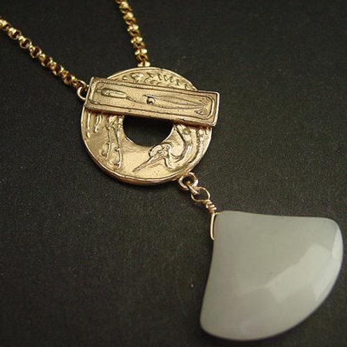 Crane Art Deco with jade necklace