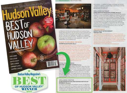 Best Wellness Center 2017 - Hudson Valley Magazine!