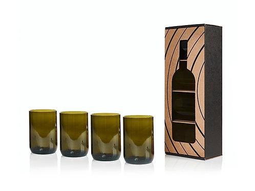 Rebottled - glazen van lege wijnflessen