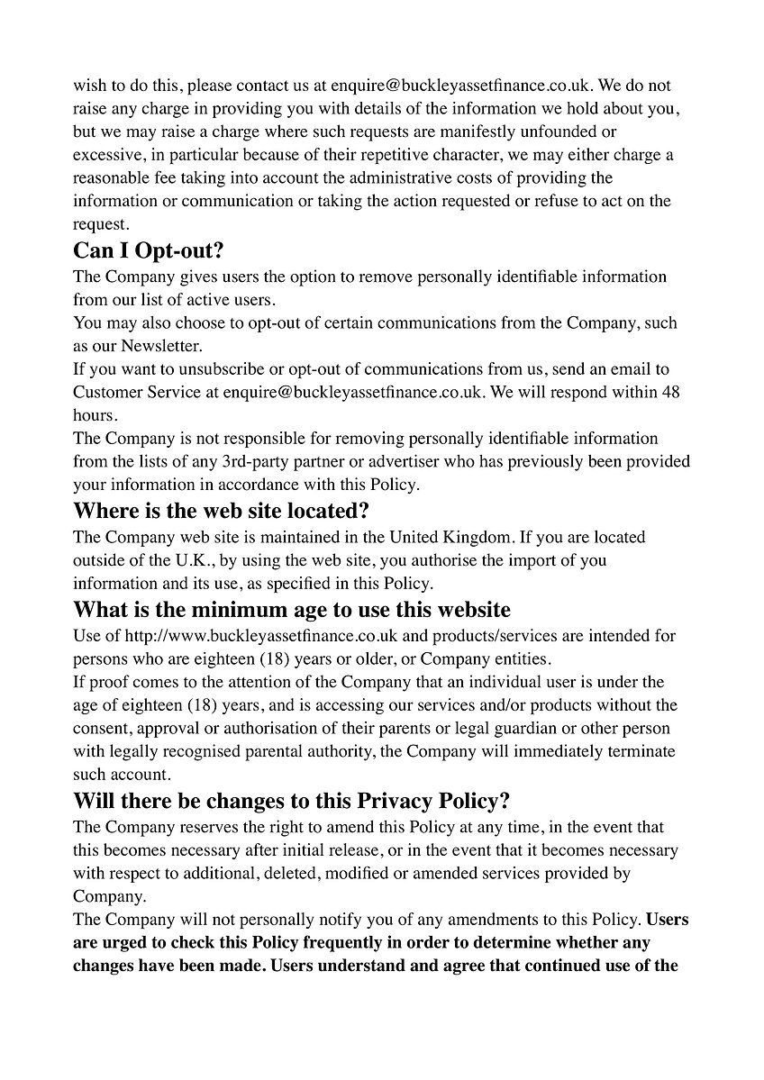 Buckey Asset Finance Ltd Privacy Policy 6