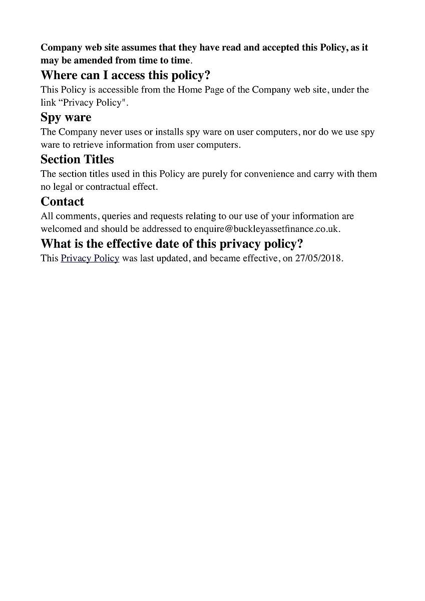 Buckey Asset Finance Ltd Privacy Policy 7
