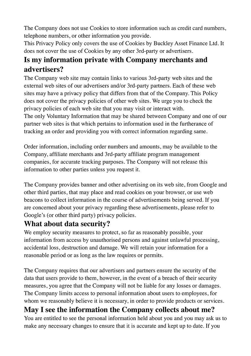 Buckey Asset Finance Ltd Privacy Policy 5