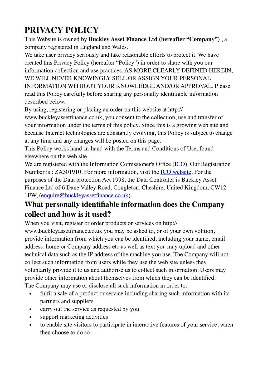 Buckey Asset Finance Ltd Privacy Policy 1