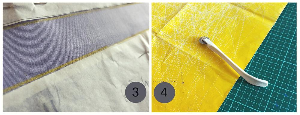 Kopierpapier in gelb mit Kopierrad von Bordua und Prym.
