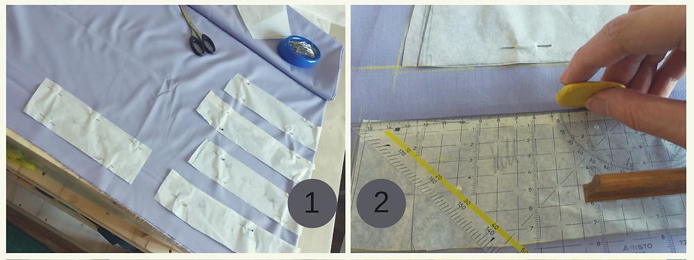 Schnittmuster werde im richtigen Fadenlauf aufgelegt und die Nahtzugabe markiert.