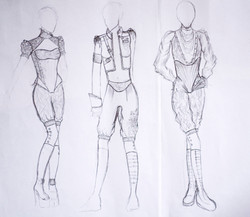 Drei Modeskizzen, Bleistift auf Papier