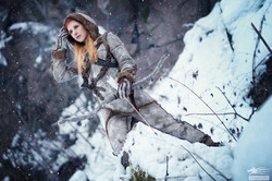 Ygritte from Game of Thrones scouting the snow covered landscape.
