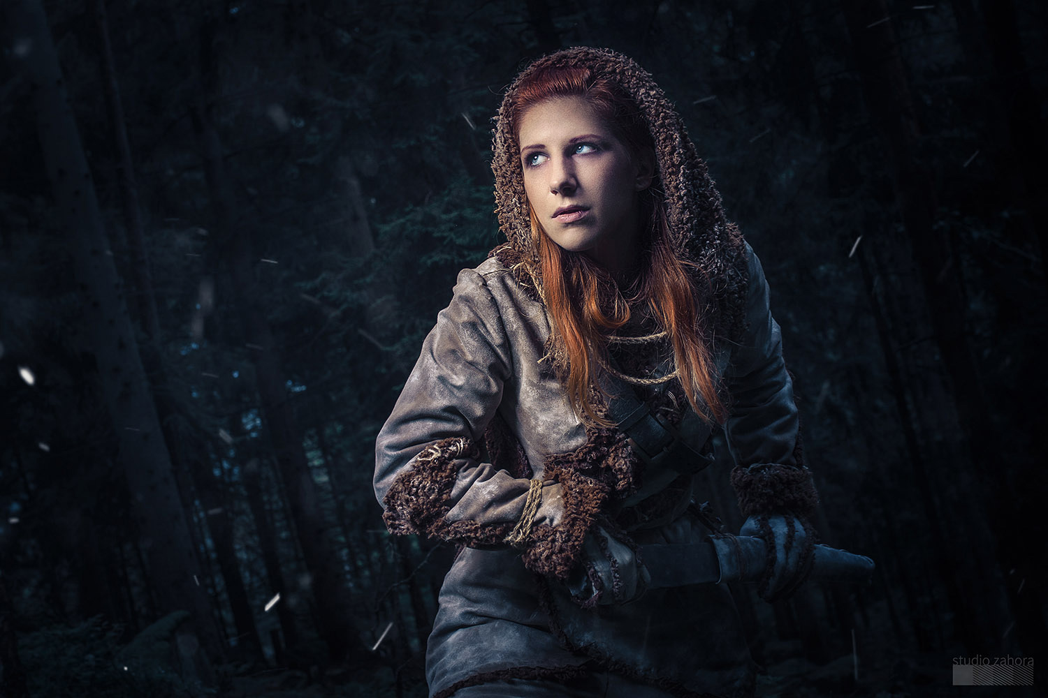Ygritte Game of Thrones Cosplay Costume by Tsuya; Ygritte in the woods, ready to fight