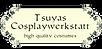 Firmenlogo in rechteckiger Form mit creme farbenem Hintergrund türkisfarbenen Ranken. Text: Tsuyas Cosplaywerkstatt, high quality costumes.