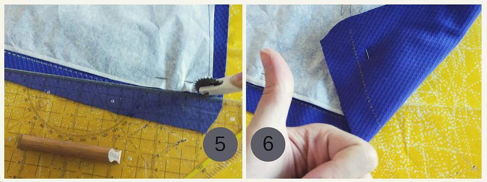 Kopierrad und Kopierpapier in Verwendung. Markierungen werden auf die andere Stoffseite transferiert.