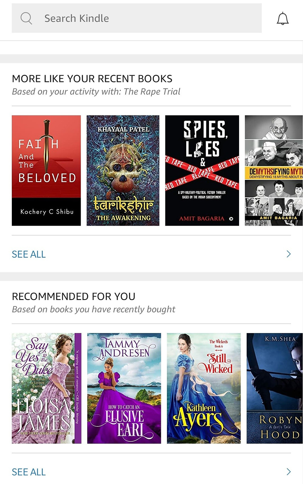 Kindle app recommendations