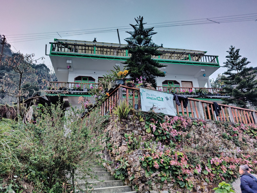 Our homestay in the daylight: a pretty blue house with lots of pink flowers surrounding it