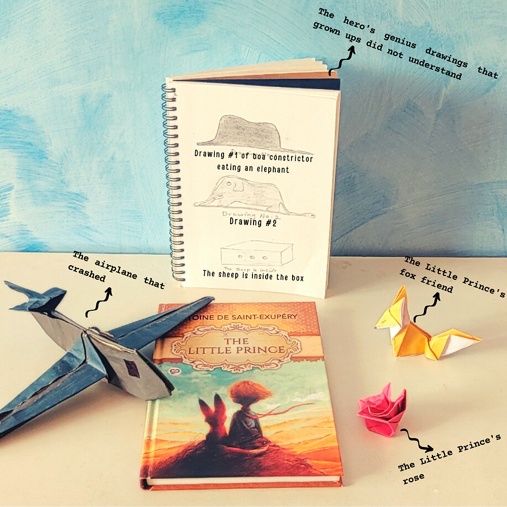 A picture with the book, The Little Prince, placed on a white surface, at the centre. At the top is a sketchbook with three drawings. To the left is an origami airplane, and to the right is a small origami fox and an origami rose.