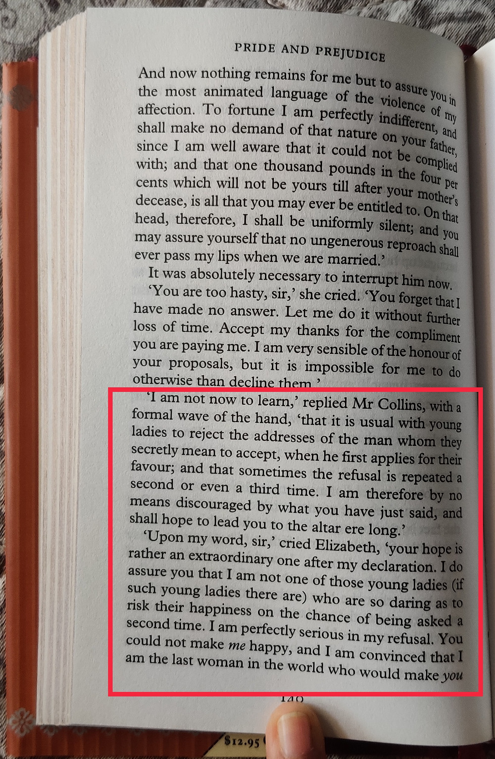 A page of Pride and Prejudice with a dialogue between Mr. Collins and Elizabeth highlighted (Mr. Collins's interpretation of Elizabeth's rejection of his proposal and her scathing reply)