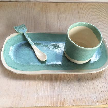 Set plateau tasse à café et cuillère bleu moucheté