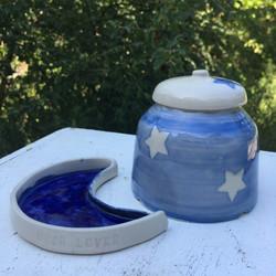 coupelle lune boite etoiles bleu