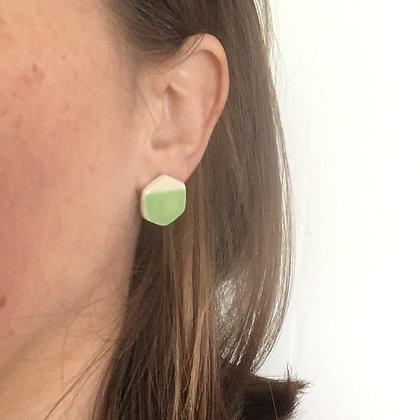 Boucles d'oreilles hexagone vert