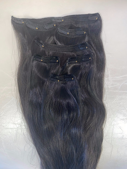 """18"""" RUSSIAN CLIP-IN Hair Extensions - Natural Black"""