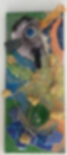 Crown Fish mixed media on laminated board 6x15