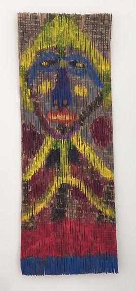 Blue Nosed Gal acrylic on striated cardboard 35x12.5