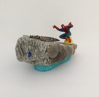 Spidey Rides The Flying Shark sculpture found objects view 3 5x12x5