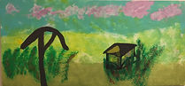 Landscape with Cabin acrylic on laminated board 13.5x32.5