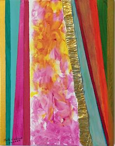 Floral acrylic n metal on canvas 14x11 20100903