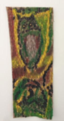 Yellow Eyed Owl acrylic on slitted cardboard 15x36