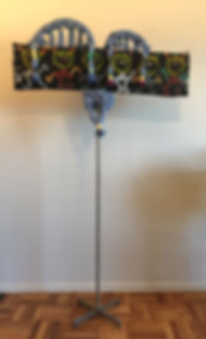 Rubawami Totem front Mixed media slitted cardboard, acrylic. Metal 72x40 20180713